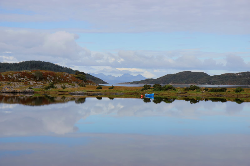 View from Macneils Croft Self catering house on shore of Arivegaig Bay, Ardnamurchan Scotland