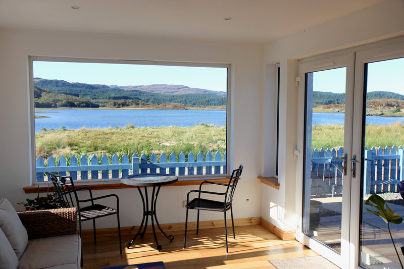 Views from Macneils Croft Self catering house on shore of Arivegaig Bay, Ardnamurchan Scotland