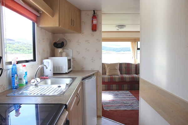 Kitchen in Self catering caravan 3 on shore of Arivegaig Bay, Ardnamurchan Scotland
