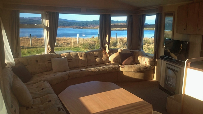Views from Self catering caravan 1 on shore of Arivegaig Bay, Ardnamurchan Scotland
