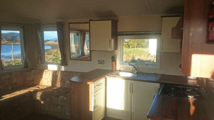 kitchen in Self catering caravan 2 on shore of Arivegaig Bay, Ardnamurchan Scotland