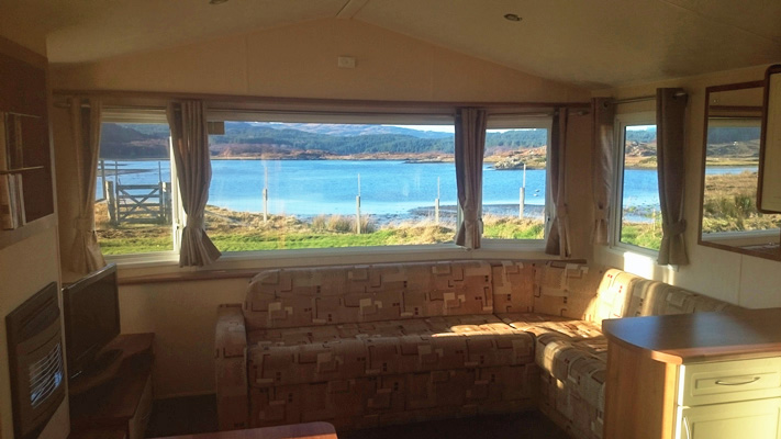 Views from Self catering caravan 2 on shore of Arivegaig Bay, Ardnamurchan Scotland