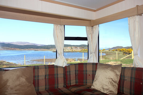 Views from caravan 3 on shore of Arivegaig Bay, Ardnamurchan Scotland