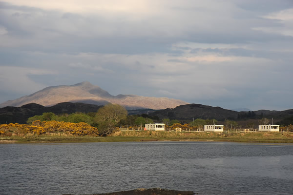 Self Catering Caravans with Ben Resipole behind, Ardnamurchan Scotland