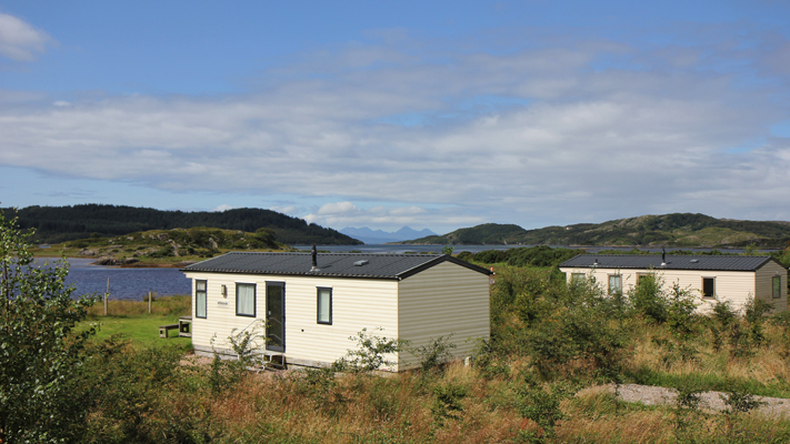 Self catering caravans on shore of Arivegaig Bay, Ardnamurchan Scotland