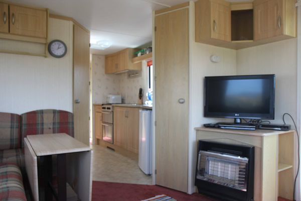 Lounge in Self catering caravan 3 on shore of Arivegaig Bay, Ardnamurchan Scotland