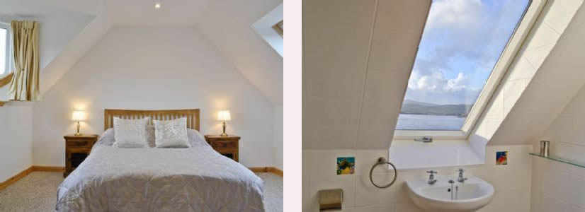 Double bedroom and wet room at Macneils Croft Self catering Arivegaig Bay, Ardnamurchan Scotland