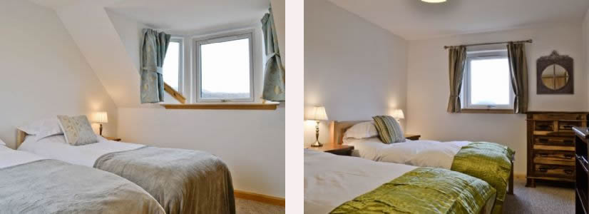 Twin bedrooms at Macneils Croft Self catering Arivegaig Bay, Ardnamurchan Scotland