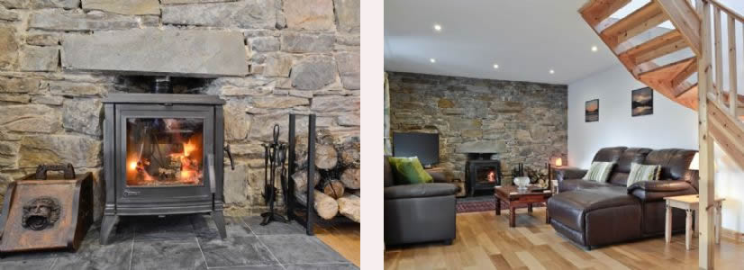 Lounge and wood burning stove at Macneils Croft Self catering Arivegaig Bay, Ardnamurchan Scotland